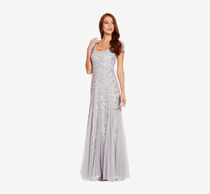 Petite Long Beaded Dress With Cap Sleeves In Silver Mist