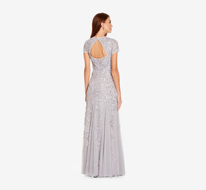 Long Beaded Dress With Cap Sleeves In Silver Mist