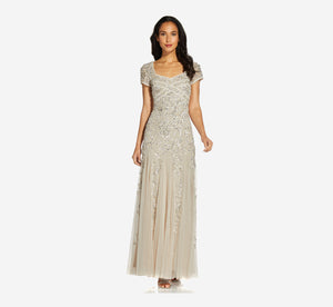 Long Beaded Dress With Cap Sleeves In Biscotti