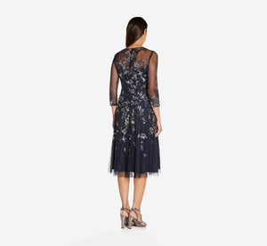 Beaded Floral Dress With Three Quarter Sleeves In Midnight