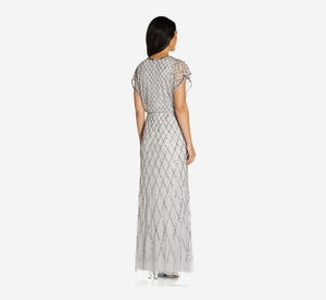 Sequin Lattice Dress With Flutter Sleeves In Bridal Silver