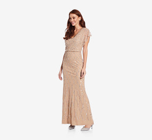 Sequin Lattice Dress With Flutter Sleeves In Champagne Silver