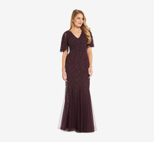 Beaded Lattice Dress With Flutter Sleeves In Night Plum