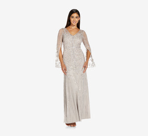 Beaded Mermaid Gown With Split Sleeves In Marble