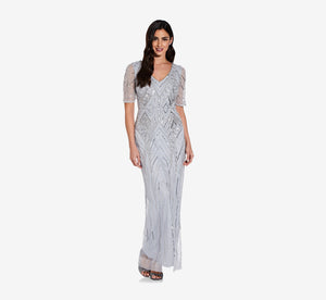 Long Sequin Dress With Beaded Detail In Glacier