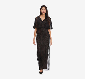 Beaded Column Dress With Flutter Sleeves In Black Nude