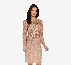 Short Sequin Cocktail Dress With Long Sleeves In Rose Gold