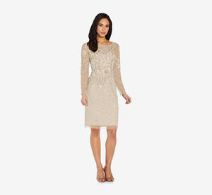 Short Sequin Cocktail Dress With Long Sleeves In Biscotti