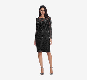 Short Sequin Cocktail Dress With Long Sleeves In Midnight