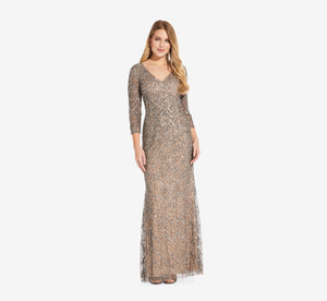 Long Beaded Dress With Three Quarter Sleeves In Mercury Nude