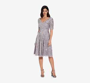 Flared Sequin Dress In Lilac Grey