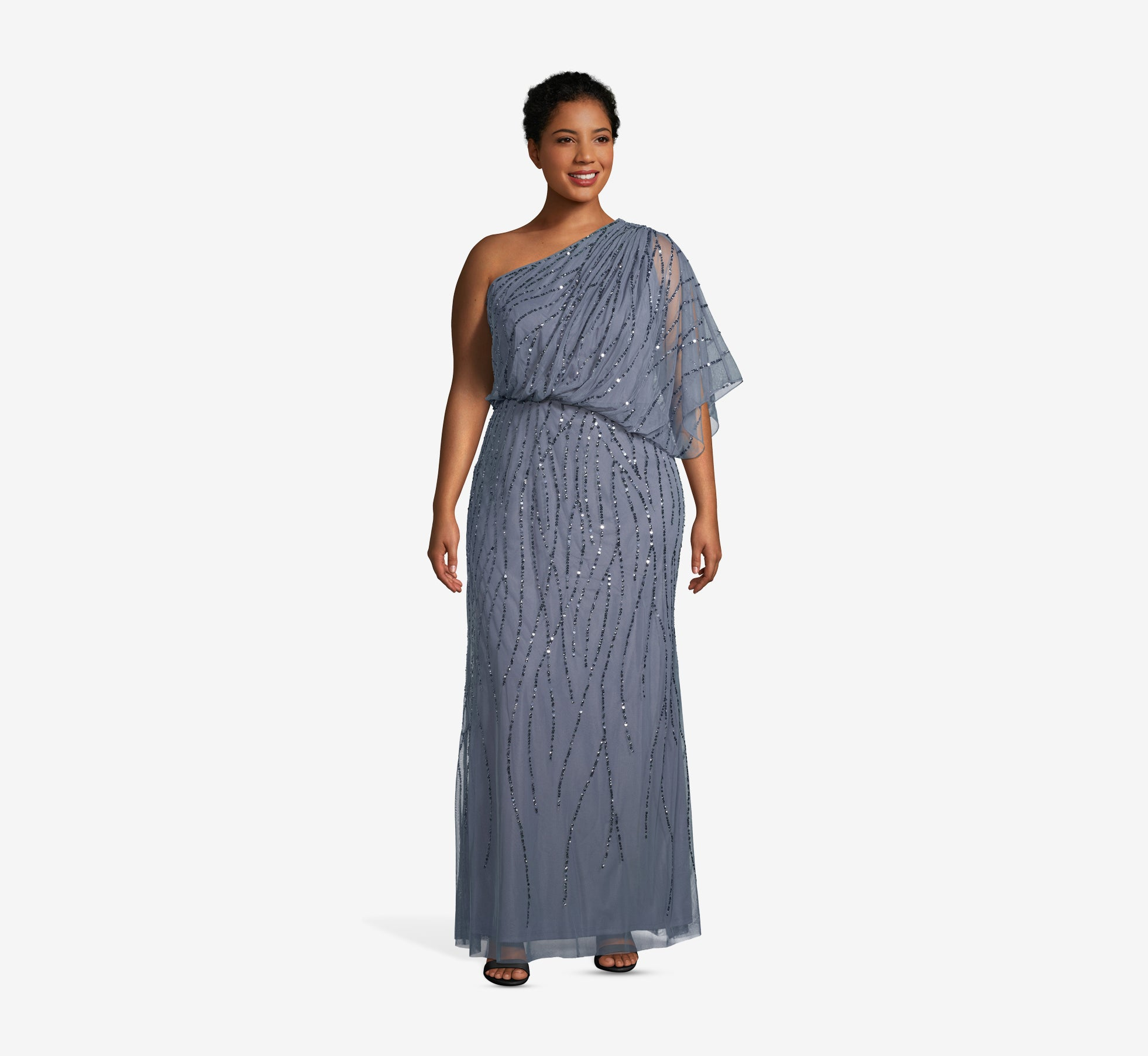 Plus Size Draped One Shoulder Dress With Sequin Detail In Dusty Blue Adrianna Papell