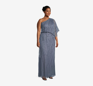 Plus Size Draped One Shoulder Dress With Sequin Detail In Dusty Blue