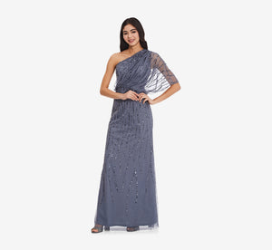 Draped One Shoulder Dress With Sequin Detail In Dusty Blue