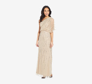 Draped One Shoulder Dress With Sequin Detail In Nude