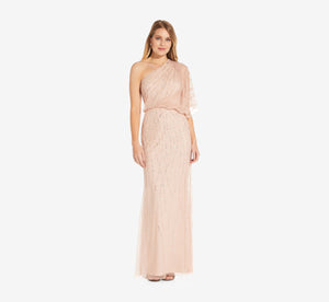 Draped One Shoulder Dress With Sequin Detail In Blush