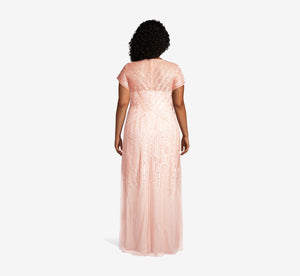 Plus Size Long Beaded Dress In Blush