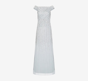Long Beaded Off Shoulder Dress In Frosted Sage