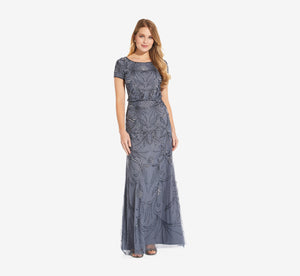 Long Beaded Blouson Dress In Dusty Blue
