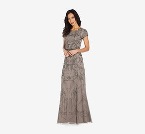 Long Beaded Blouson Dress In Mercury