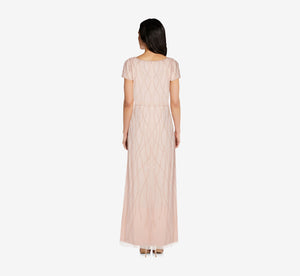 Petite Long Beaded Blouson Dress In Champagne Sand