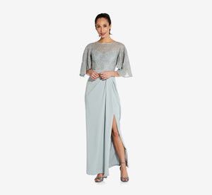 Flutter Sleeve Gown With Crepe Skirt In Frosted Sage