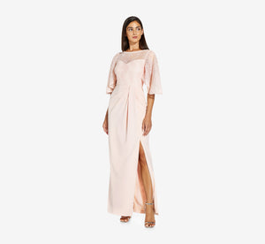 Flutter Sleeve Gown With Crepe Skirt In Light Blush