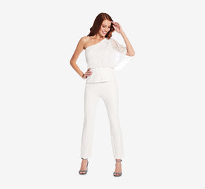 Asymmetrical Peplum Top With Sequin Detail In Ivory