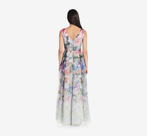 Sleeveless Floral Dress With Draped Detail In Ivory Multi