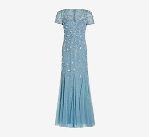Beaded Gown With Godets In Air Sky