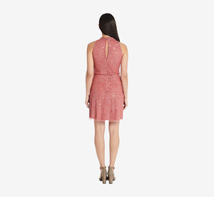 Beaded Blouson Halter Dress In Sugar Poppy