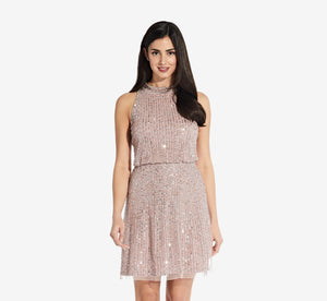 Beaded Blouson Halter Dress In Dusted Petal