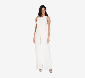 Sleeveless Asymmetrical Jumpsuit In Ivory