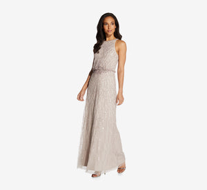 Halter Beaded Blouson Gown In Marble