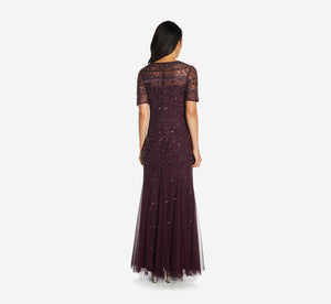 Beaded Elbow Sleeve Covered Gown In Deep Amethyst