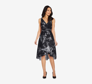 Pleated Jacquard Dress In Black Silver