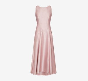 Mikado Drop Wait High-Low Gown In Aurora Pink