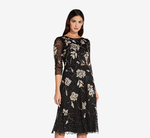 Three Quarter Sleeve Beaded A-Line Dress In Black Gold
