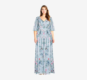 Plus Size Long Floral Dress With Pleated Detail In Glacier Multi