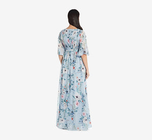 Long Floral Dress With Pleated Detail In Glacier Multi
