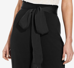 Straight Leg Pants With Tie Waist In Black