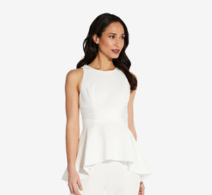 Crepe Halter Satin Tie Peplum Top In Ivory