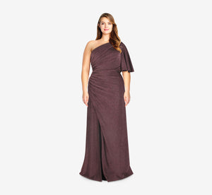 Plus Size One Shoulder Metallic Knit Gown In Amethyst