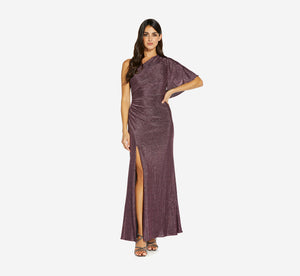 One Shoulder Metallic Knit Gown In Amethyst