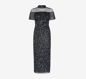 Beaded Column Gown In Midnight