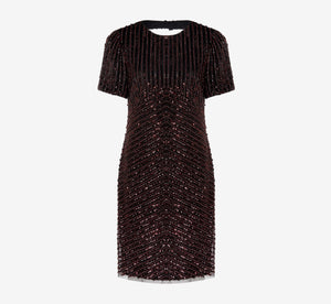 Short Sleeve Beaded Cocktail Dress In Black Red