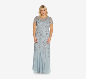 Plus Size Hand Beaded Short Sleeve Floral Godet Gown In Blue Heather