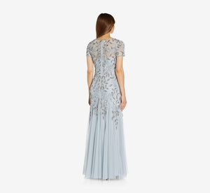 Hand Beaded Short Sleeve Floral Godet Gown In Blue Heather