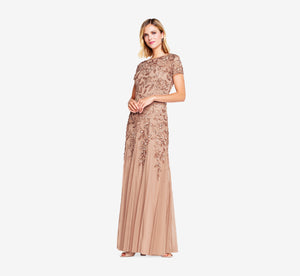 Petite Hand Beaded Short Sleeve Floral Godet Gown In Rose Gold