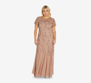 Plus Size Hand Beaded Short Sleeve Floral Godet Gown In Rose Gold